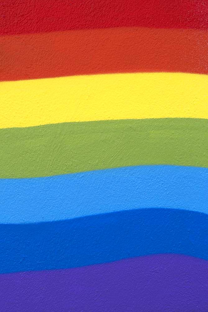 Rainbow colors, painted on a wall, Berlin, Germany, Europe