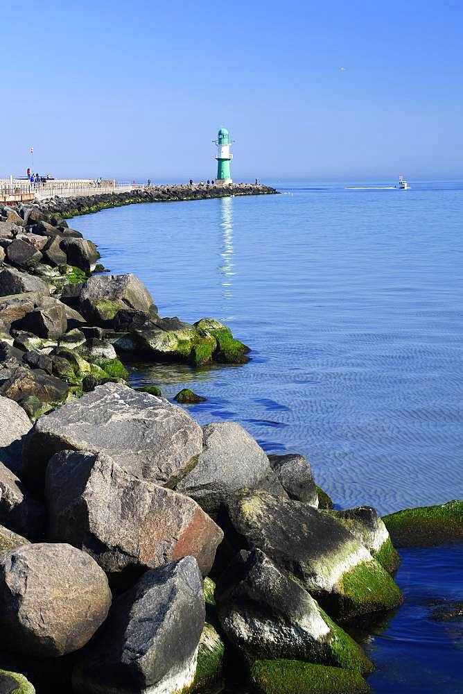 Mole, Lighthouse, Warnemuende, Mecklenburg-Western Pomerania, Germany, Europe