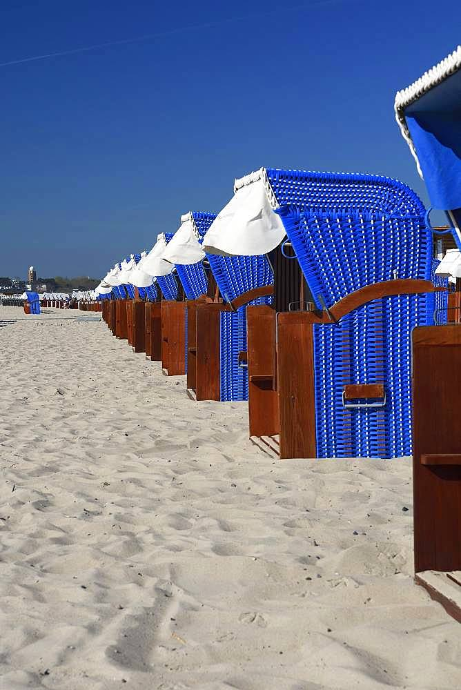 Blue beach chairs at the beach, Warnemuende, Mecklenburg-Western Pomerania, Germany, Europe