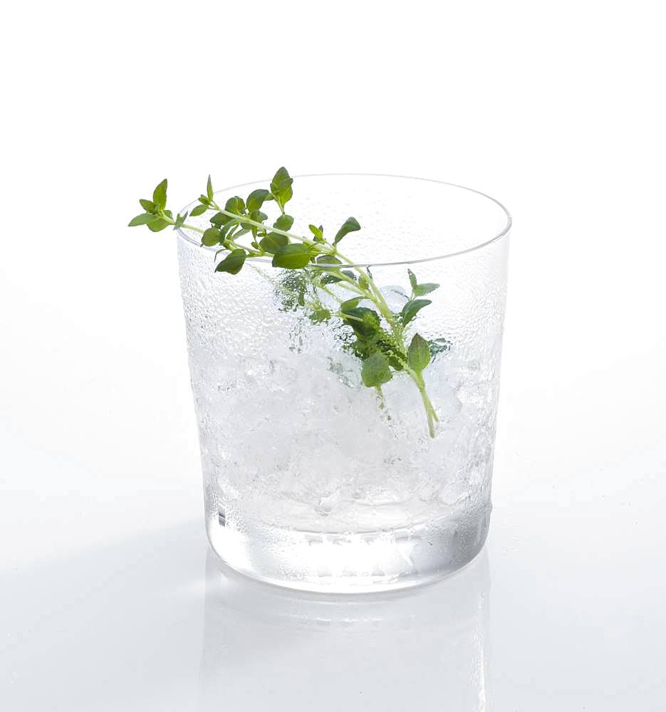 Cocktail glass, decorated with thyme, crushed ice, Germany, Europe