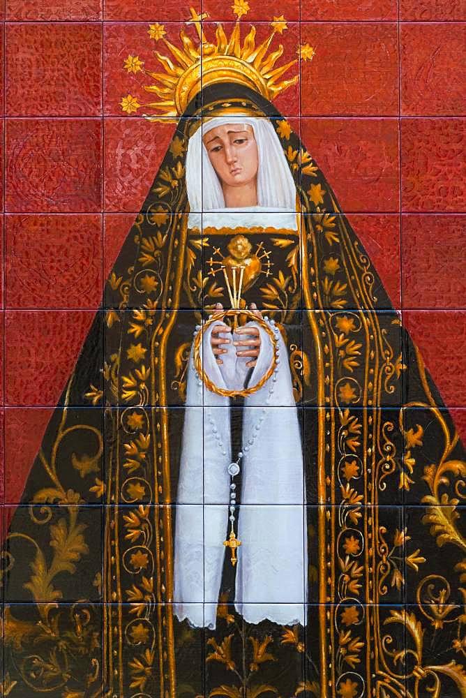 Maria, Mater Dolorosa, tile painting, Almeria, Andalusia, Spain, Europe - 832-385197
