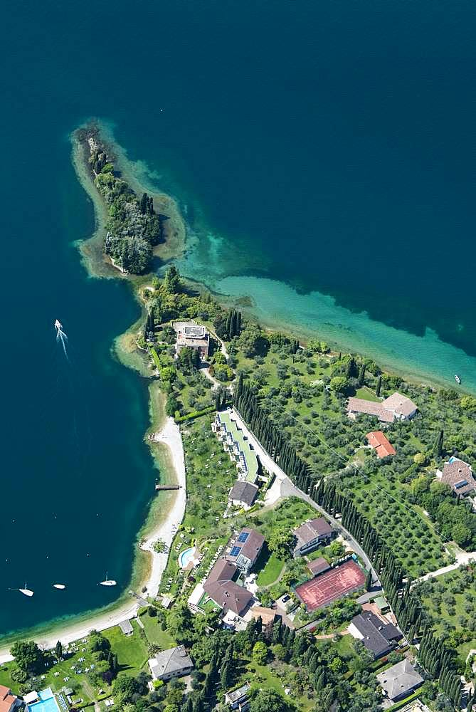 Val di Sogno near Malcesine on Lake Garda, aerial view, Province of Veneto, Italy, Europe