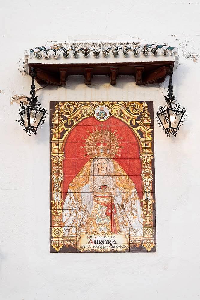 Maria, Mater Dolorosa, tile painting, Granada, Andalusia, Spain, Europe