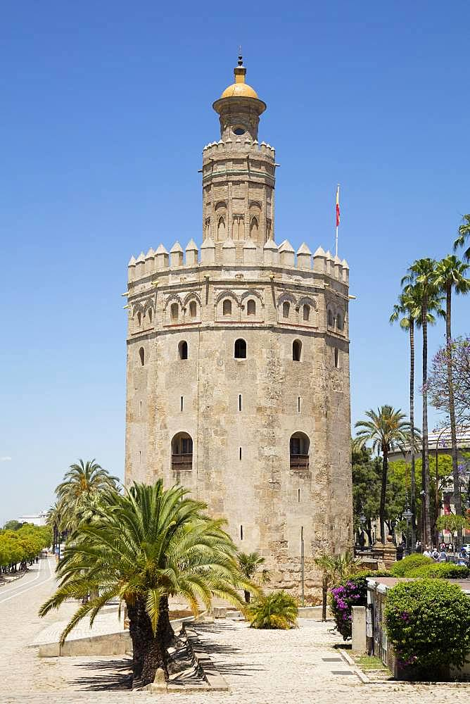 Gold Tower, Torre del Oro, Seville, Andalusia, Spain, Europe