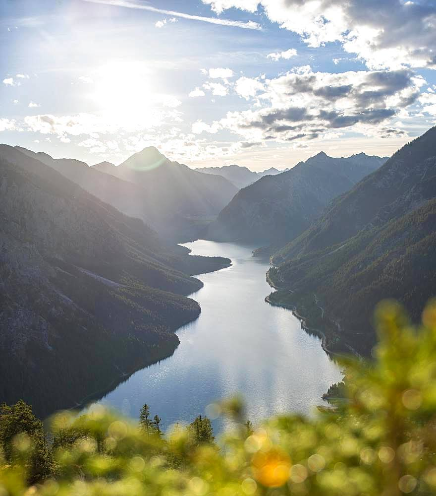 View from Schoenjoechl to Lake Plansee, surrounded by mountains, Tyrol, Austria, Europe