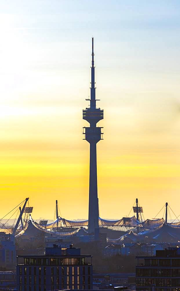 Olympic Tower and Olympic Stadium at sunset, Munich, Upper Bavaria, Bavaria, Germany, Europe