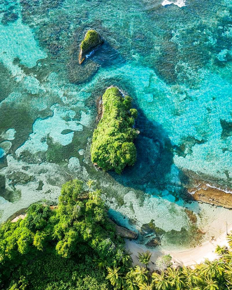 Coastal area, drone shot, Escudo de Veraguas, Panama, Central America