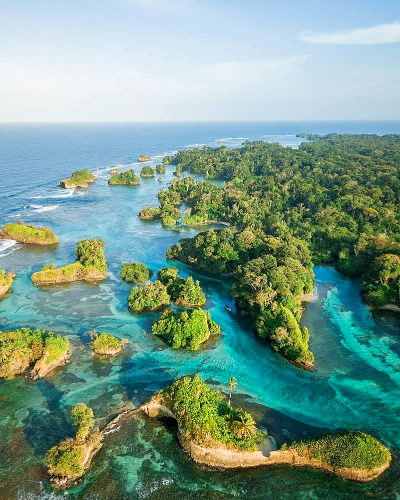 Coastal area with many small forested islands, drone shot, Escudo de Veraguas, Panama, Central America