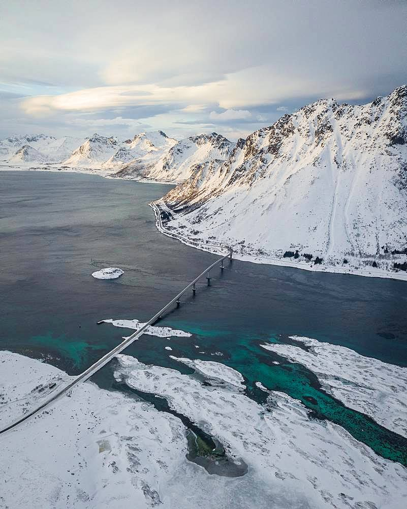 Gimsoystraumen Bridge in Winter, Gimsoy Bridge, drone shot, Gimsoy, Lofoten, Norway, Europe