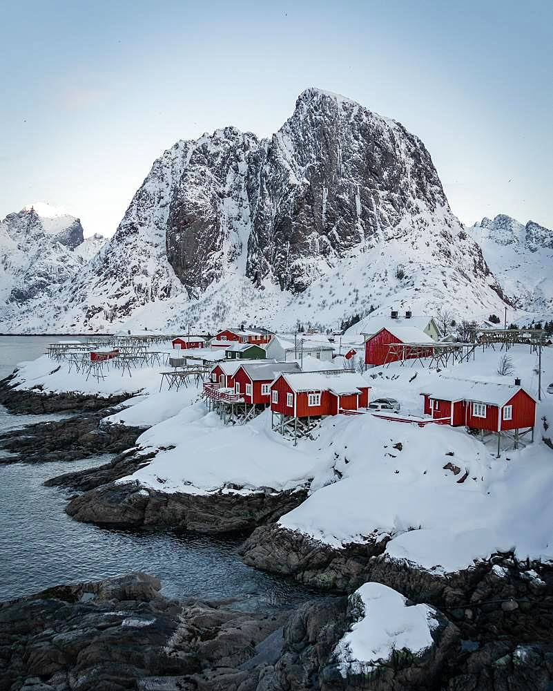 Red stilt houses, Hamnoy, drone shot, Lofoten, Norway, Europe