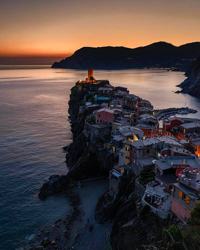 View of Vernazza at sunset, aerial view, Cinque Terre, Liguria, Italy, Europe