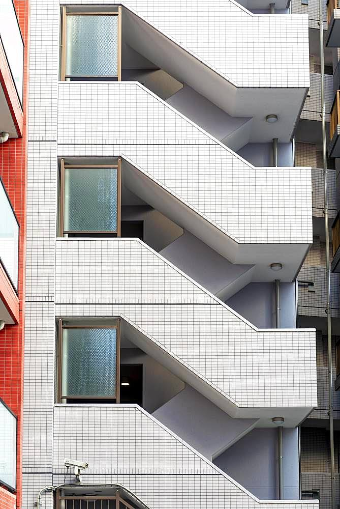 High-rise residential building, staircase, external stairs, Tokyo, Japan, Asia