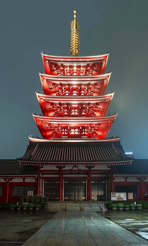 Night photo, five-storey pagoda of Sensoji, Buddhist temple complex, Senso-ji temple or Asakusa shrine, Asakusa, Tokyo, Japan, Asia