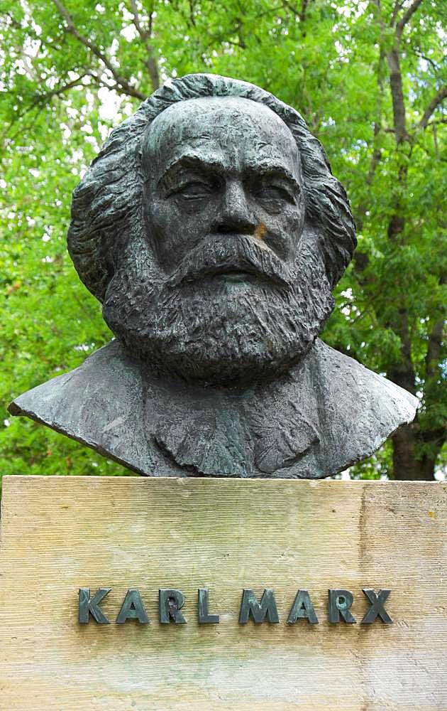 Bust Karl Marx, German philosopher, sculptor Gerhard Geyer, Friedensplatz, Dessau, Saxony-Anhalt, Germany, Europe