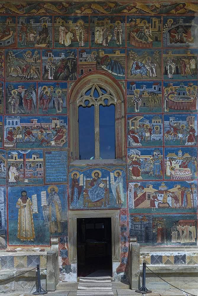 Wall frescoes, monastery church Saint George, 1547, Unesco World Heritage Site, Voronet, Romania, Europe