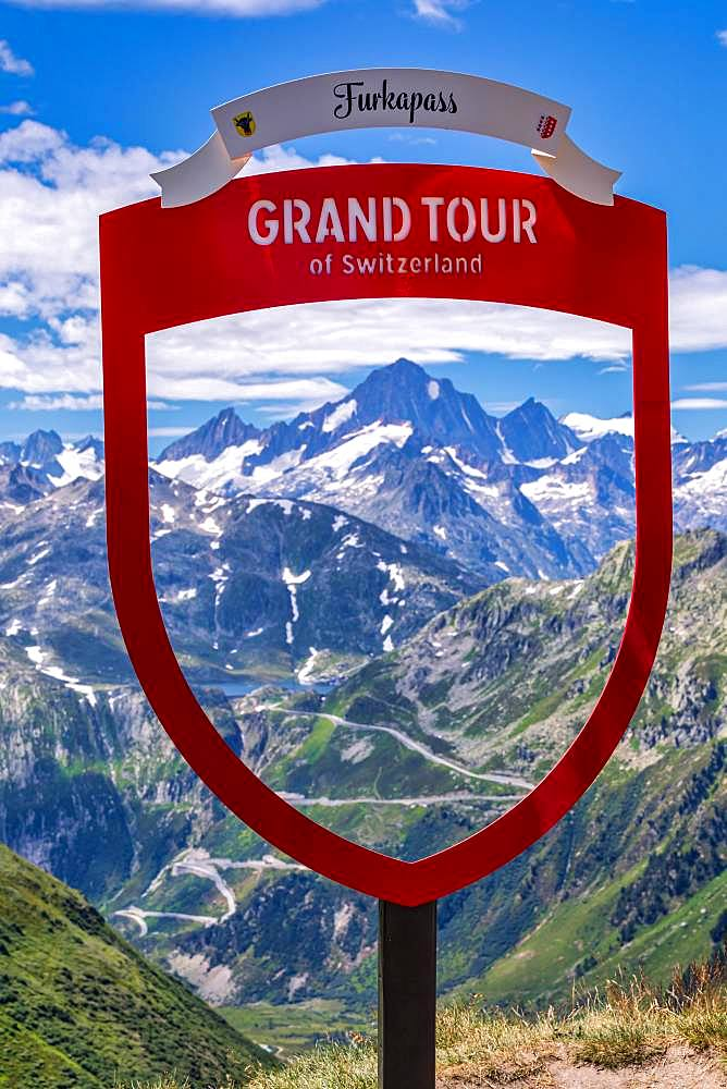 Grand Tour of Switzerland signpost at Furka Pass, Switzerland, Europe