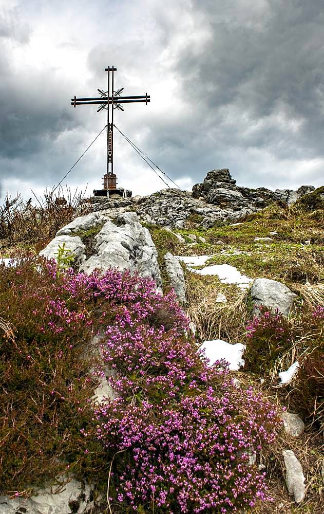 Summit cross at the summit of Spitzstein, Erl, Austria, Europe