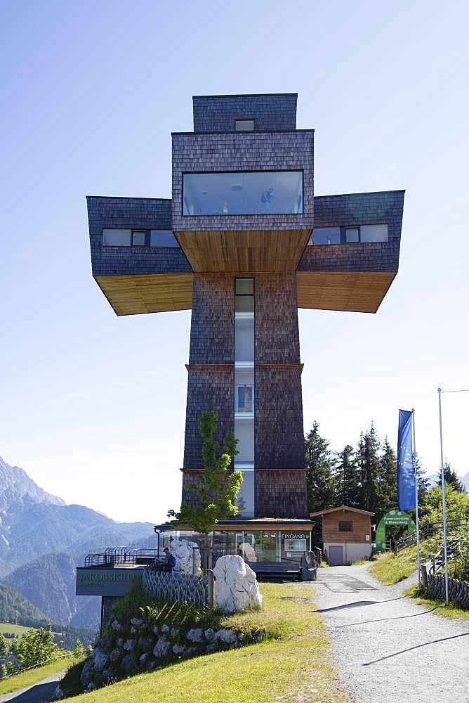 Observation tower Jakobskreuz on the summit of the Buchensteinwand, Kitzbueheler Alps, Tyrol, Austria, Europe