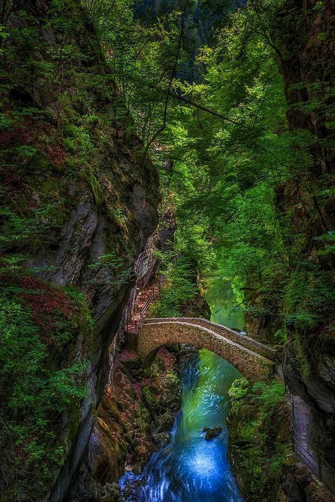 The old stone bridge near Saut de Brot, Noiraigue, Neuchatel, Switzerland, Europe