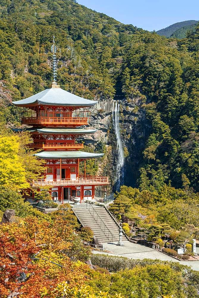 Nachi waterfall behind pagoda of Seigantoji Temple, Nachisan, Wakayama, Japan, Asia