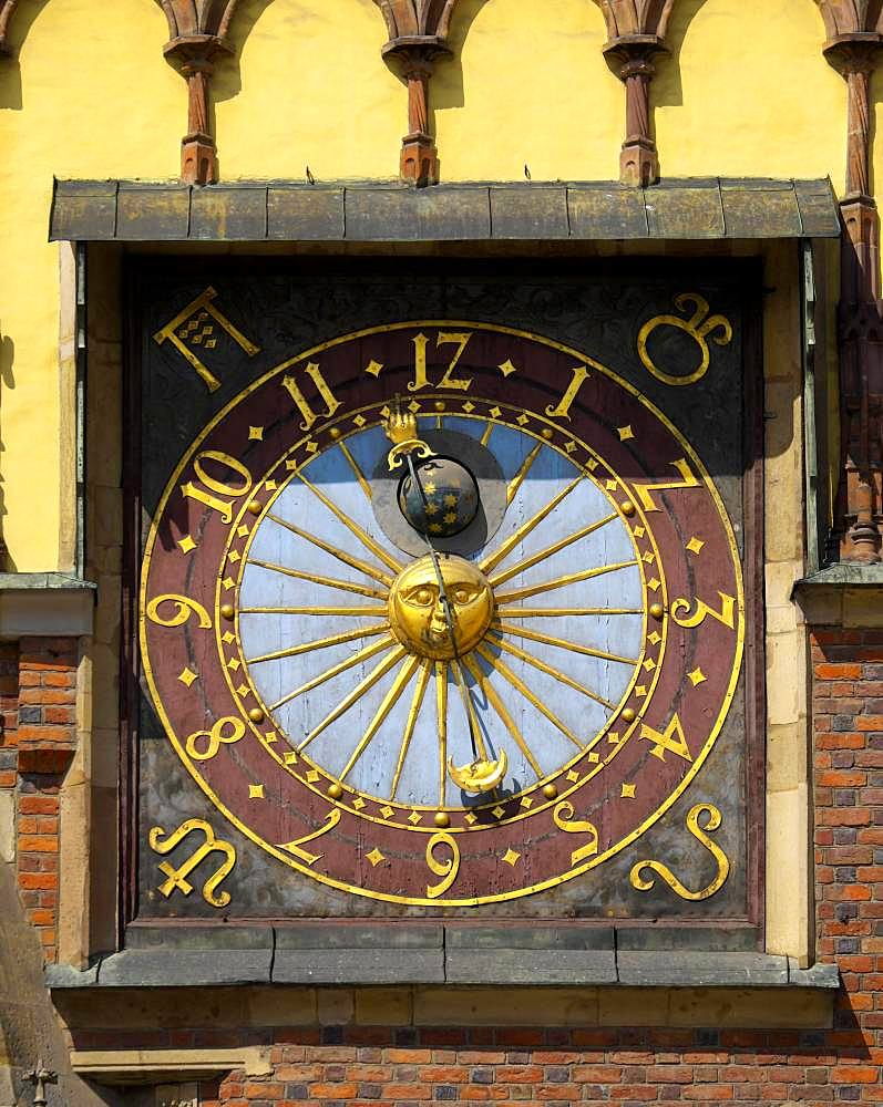 Astronomical clock, Old Town Hall at Rynek, Wroclaw, Poland, Europe