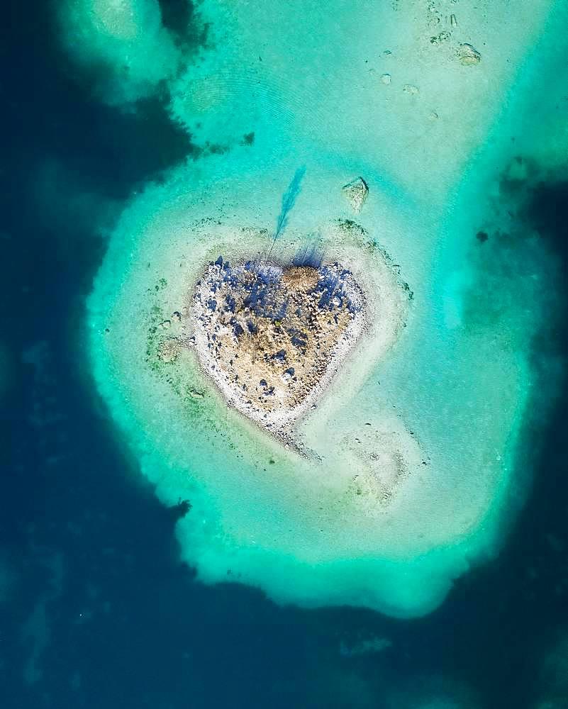 Heart island, turquoise water, Eibsee lake, Germany, Europe