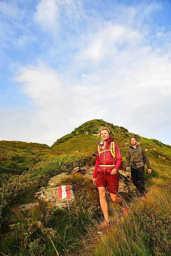Hikers descending from Feldalphorn, Kelchsau, Kitzbuehel Alps, Tyrol, Austria, Europe