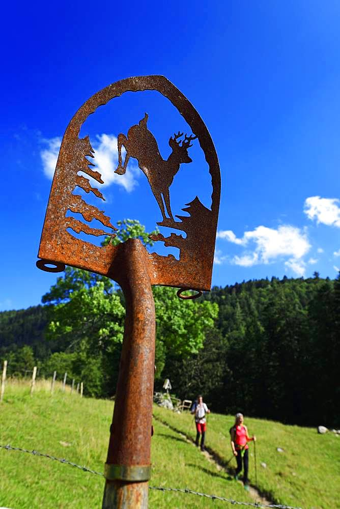Hikers next to an artistically decorated shovel at the Chiemhauser Alm, Schleching, Chiemgau, Upper Bavaria, Bavaria, Germany, Europe