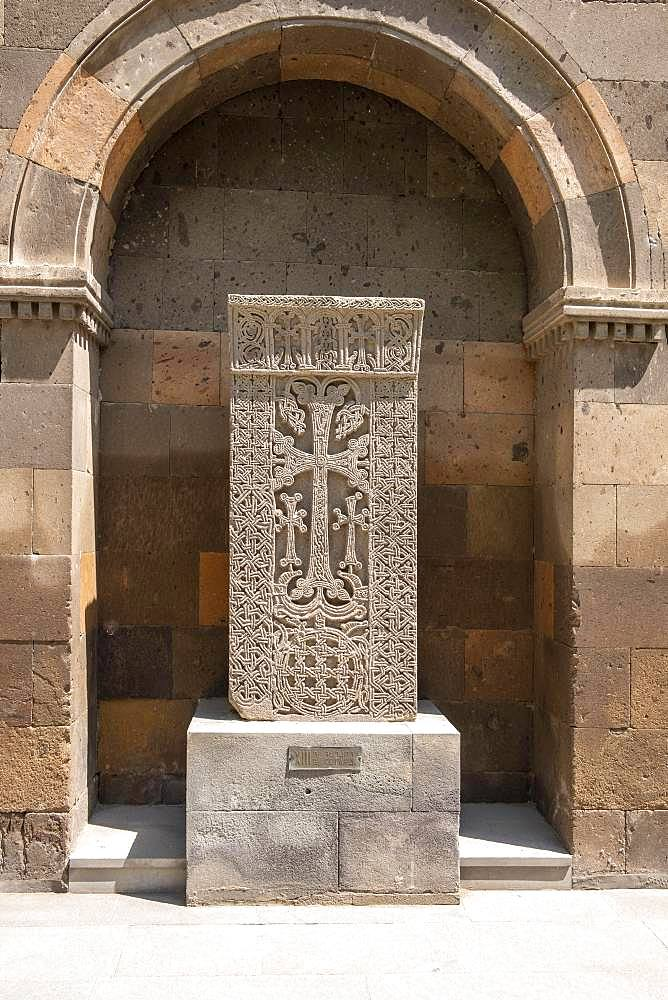 Armenian stone with cross, cross stone, Khachkar, Chatschkar, church centre, Etschmiatsin, Armavir, Armenia, Asia