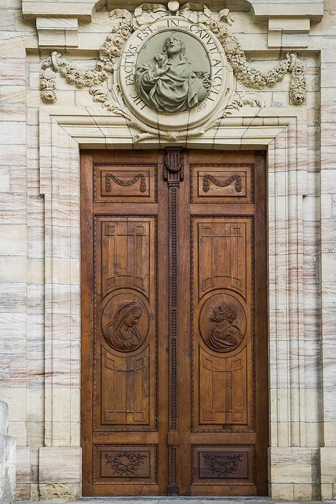 Entrance door, St Blasien Cathedral, St Blasien, Black Forest, Baden-Wuerttemberg, Germany, Europe