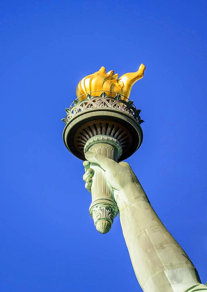 Hand with golden torch, Statue of Liberty, Statue of Liberty National Monument, Liberty Island, New York City, New York, USA, North America