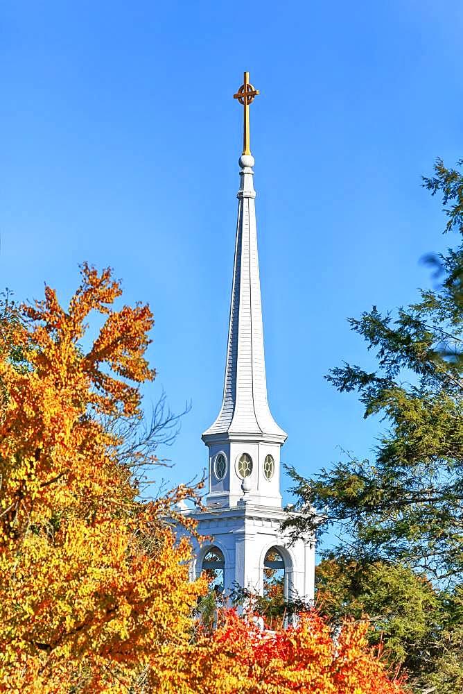 White church tower between autumnal trees, Lexington Battle Green, Lexington, Massachussets, USA, North America