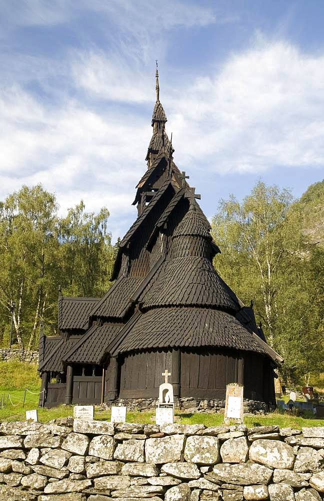 Stave Church of Borgund, Laerdal valley, Sogn og Fjordane, Norway, Europe