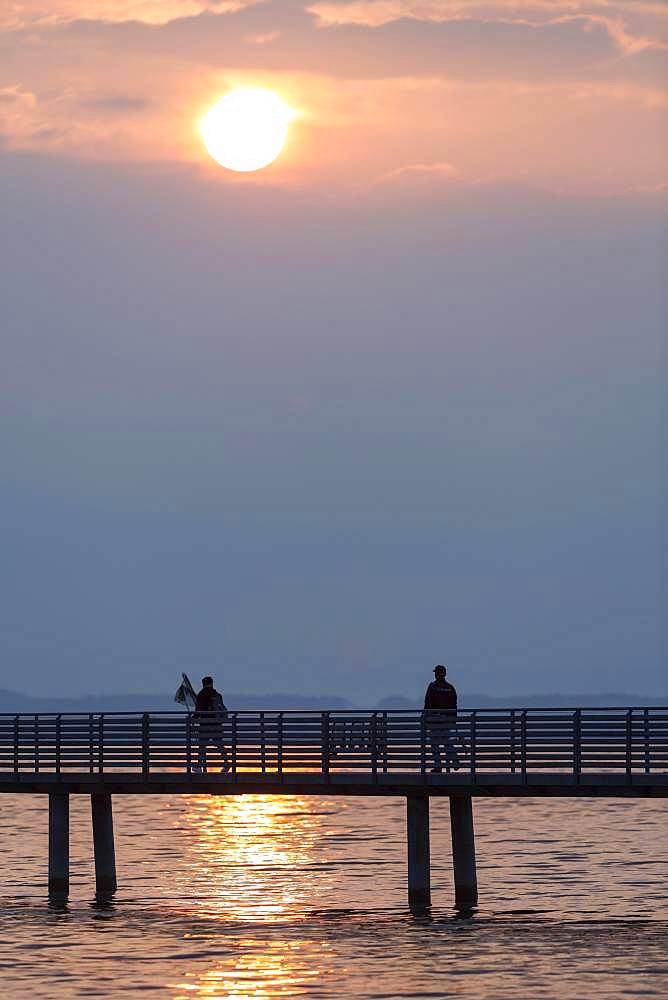 Silhouette, anglers on jetty in the morning light, Altnau, Lake Constance, Thurgau, Switzerland, Europe