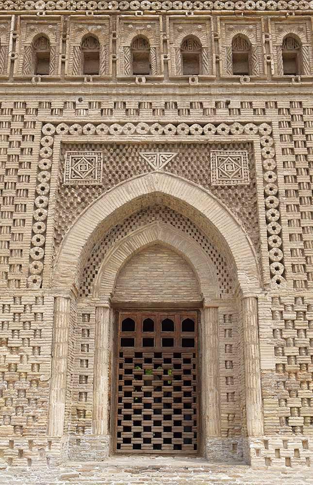 Facade with window front, Samanid Mausoleum, Ismail Samanis Tomb, Bukhara, Buxoro Province, Uzbekistan, Asia