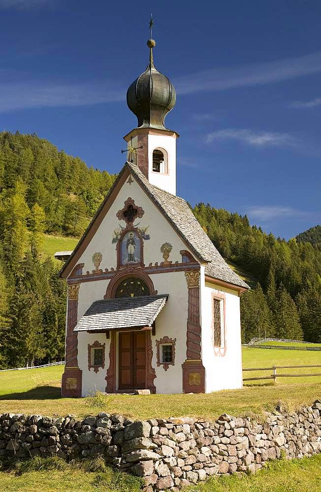 Church of St. John in Ranui, Dolomites, South Tyrol, Italy, Europe