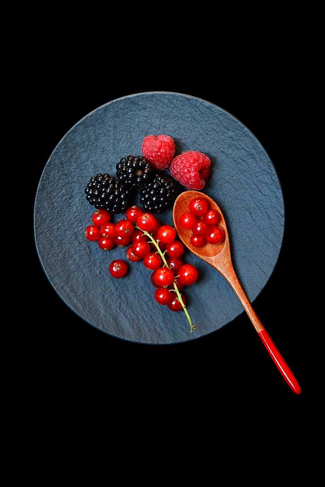 Red currants, blackberries and raspberries on black plate with wooden spoon, Germany, Europe
