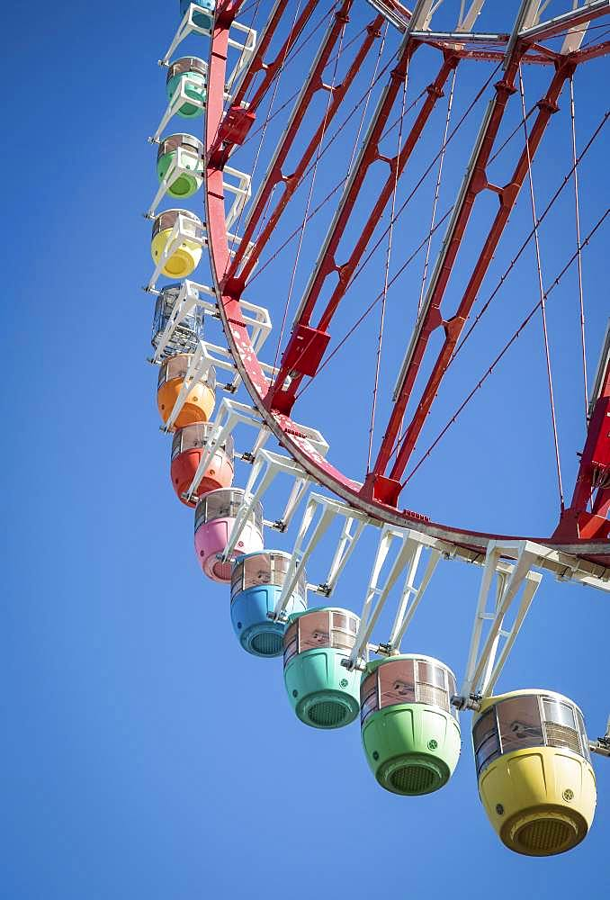 Colorful gondolas in front of a blue sky, Daikanransha Ferris wheel, Palette Town, Odaiba, Tokyo, Japan, Asia