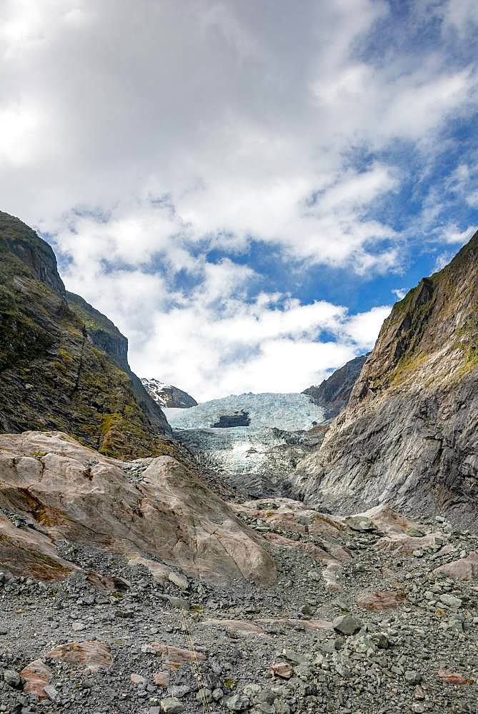 Glacier tongue, Franz Josef Glacier, West Coast, Southland, New Zealand, Oceania