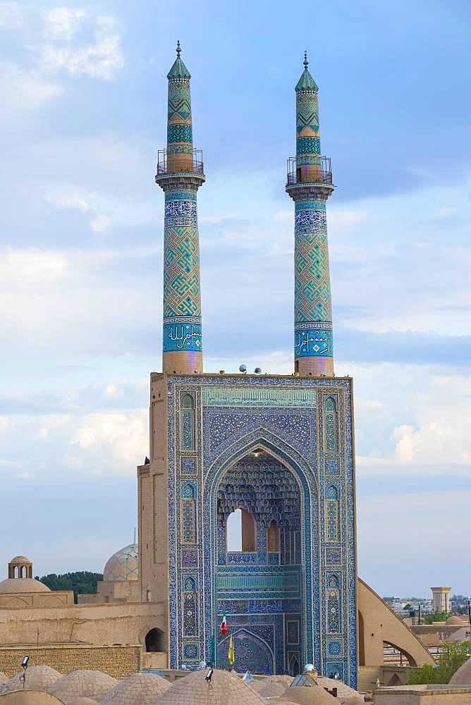 Entrance of Masjid-e Jame Mosque or Friday Mosque, Yazd, Iran, Asia