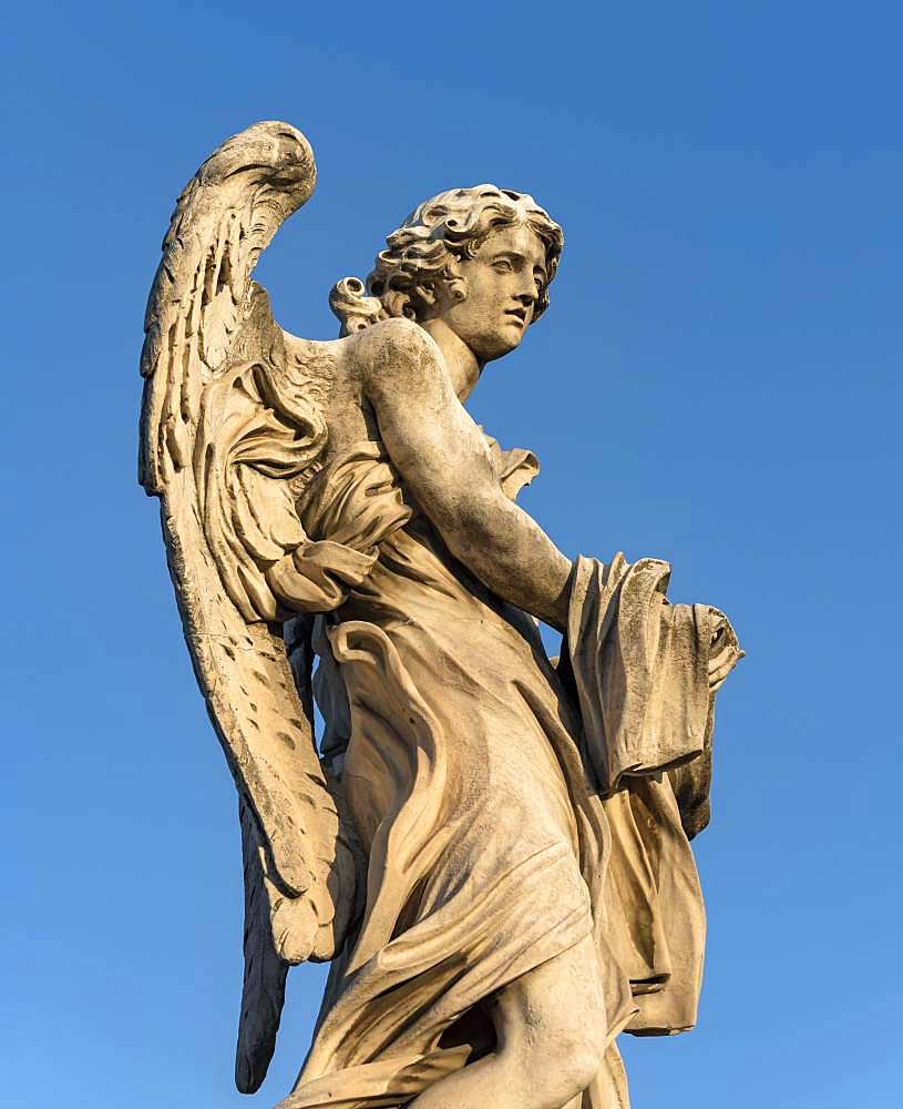 Angel with Garment and Dice statue, Ponte Sant'Angelo bridge, Rome, Italy, Europe