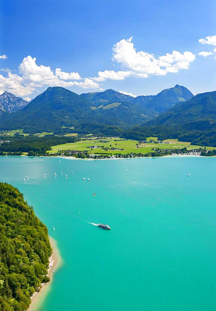 Wolfgangsee, panoramic view in direction of Abersee, Salzkammergut, Austria, Europe - 832-387055