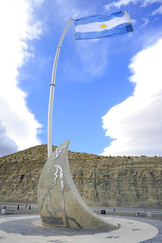 Monument in the half of Route 40, Mitad Ruta 40, near Chos Malal, Neuquen Province, Patagonia, Argentina, South America
