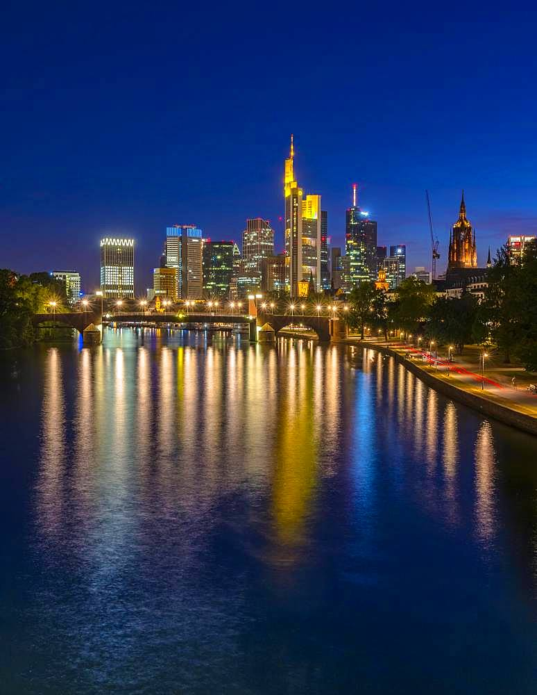 Skyline with reflection of the lights in the Main, Frankfurt am Main, Hesse, Germany, Europe