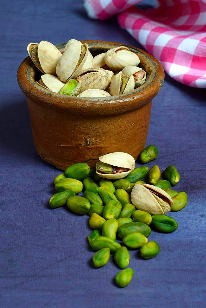 Pistachios in clay pots, Germany, Europe