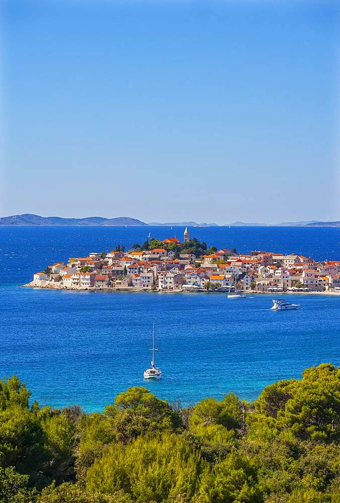 Sailboats, Primosten, Croatian Adriatic Coast, Central Dalmatia, Dalmatia, Croatia, Europe