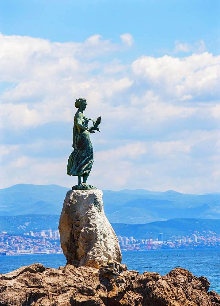 Statue of a girl with a seagull, Opatija, Istria, Kvarner Gulf Bay, Croatian Adriatic Sea, Croatia, Europe