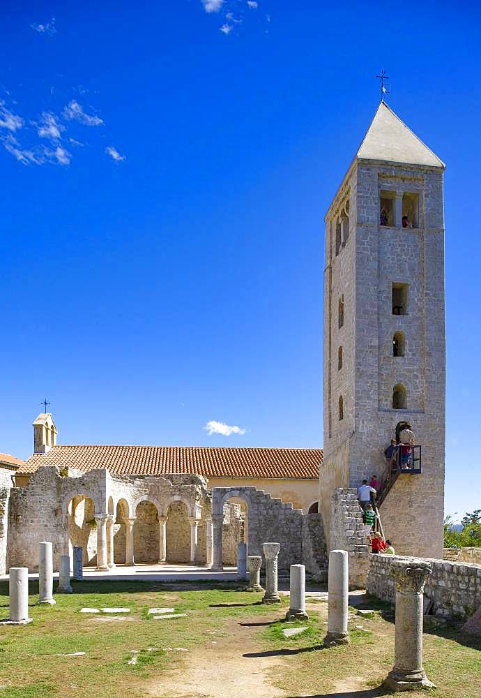 Belfry of the Church of St. John the Evangelist, town of Rab, island of Rab, Kvarner Gulf Bay, Croatia, Europe