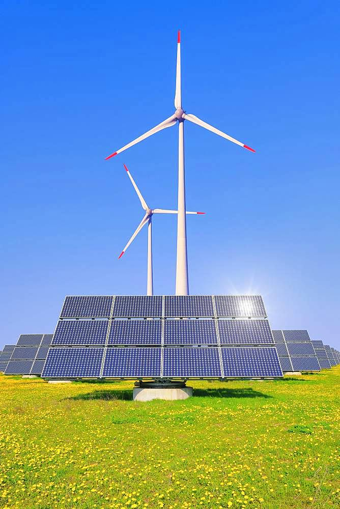 Digital Composing, solar park, photovoltaic outdoor installation, solar modules, solar power plant, wind power, wind turbines, Bavaria, Germany, Europe