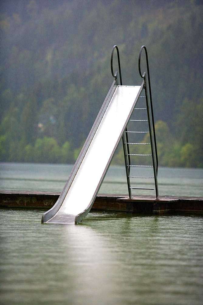 Rainy weather, water slide at the Erlaufsee near Mariazell, Styria, Austria, Europe